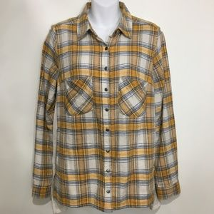 Free People XS Yellow Plaid Shirt Floral Back